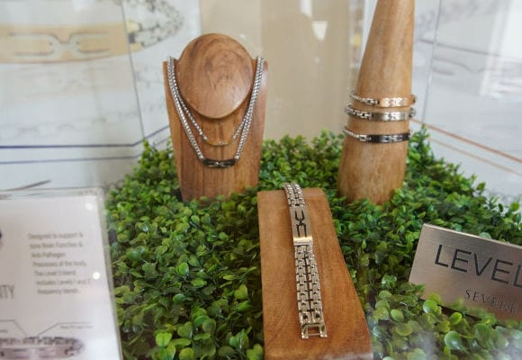 jewelry display at Tuning Element Boutique